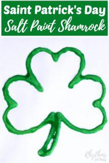 Saint Patricks Day Salt Paint Shamrock Art Project