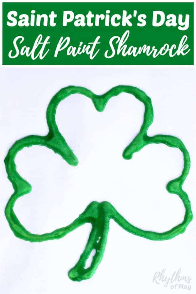 Making a Saint Patrick's Day salt paint shamrock is an easy art project and craft for kids that only takes minutes to set up. Toddlers, preschoolers, and elementary kids will enjoy the raised salt and watercolor painting technique used to create this St Patrick's Day decoration. Try it today!