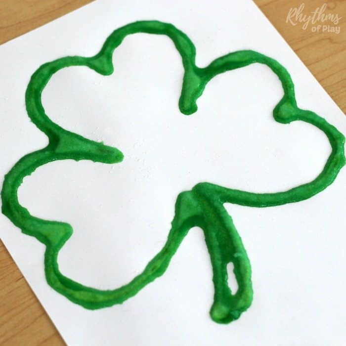 raised salt paint shamrock art project