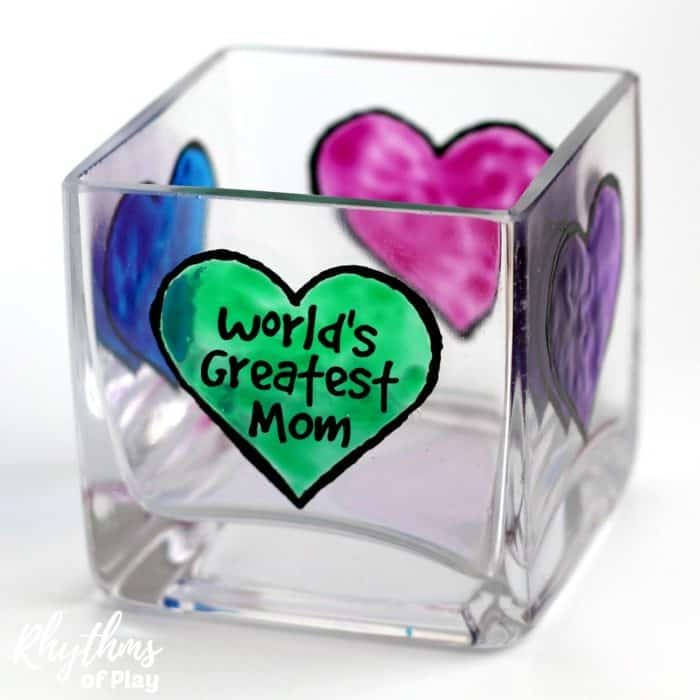 DIY Mother's Day Gift Ideas - Mom's love personalized homemade keepsake gifts for Mother's Day! Creating gorgeous stained glass hearts on votive candle holders and personalizing them for mom, nana, or grandma is fun and easy for both kids and adults. Anyone that can draw or trace can do this easy handmade art project.