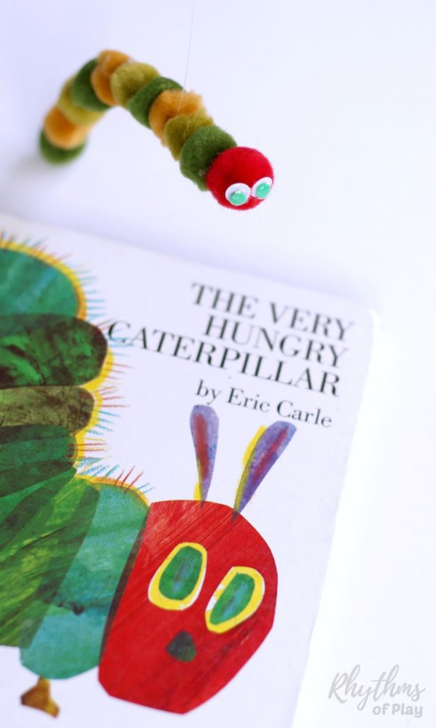 Making a DIY Very Hungry Caterpillar puppet for pretend play is an easy craft kid's can make. It only takes 5 minutes start to finish to make one of these little cuties inspired by popular children's book. Older children will be able to make one of these on their own, while preschoolers like mine will need some assistance putting one together. Use for imaginative dramatic play, in story baskets, and as an addition to a butterfly nature study homeschool unit. These make great birthday party and baby shower favors.