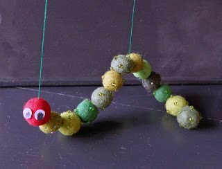 DIY Very hungry caterpillar puppet for pretend play kids can make hanginghouses