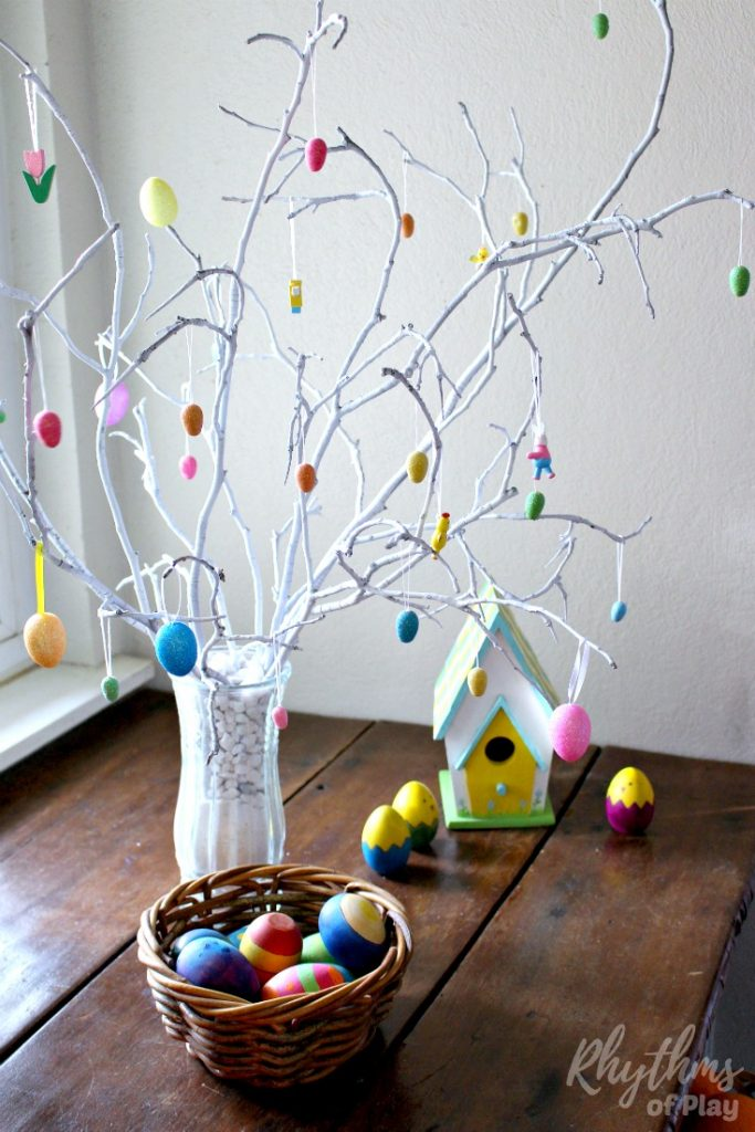 How to make an easter tree centerpiece rhythms of play for Diy easter decorations home