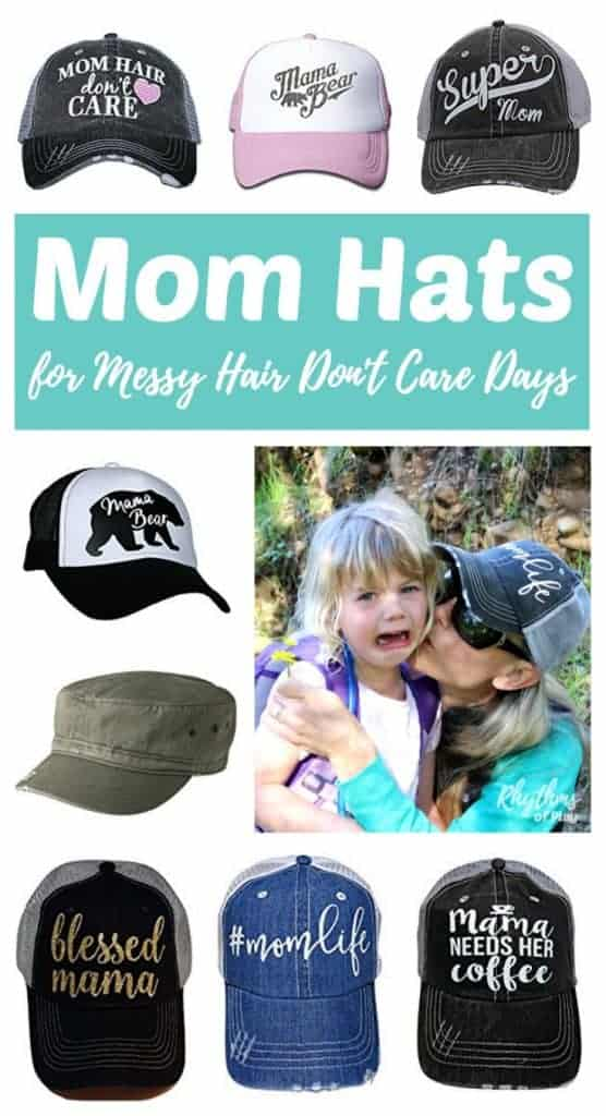 Mother's Day Gift Ideas -- A fun collection of mom hats for messy hair don't care days. Which hat is perfect for your mom? Click through to find a cheap and easy unique gift idea to buy for the amazing supermom in your life!