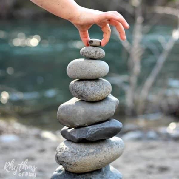 Rock balancing stone stacking outdoor art