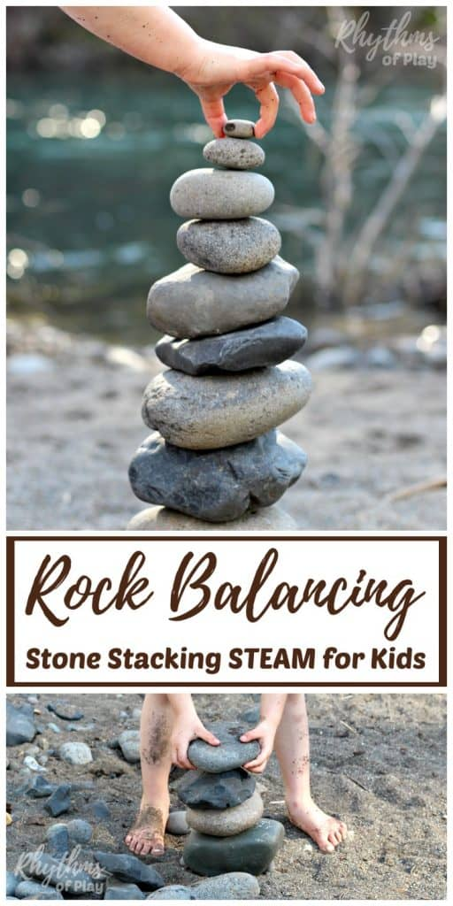 Rock balancing stone stacking art is where rocks are balanced one on top of the other in various positions to produce beautiful stone sculptures. Invite children to balance and stack rocks of different shapes and sizes to create beautiful land art--a simple STEAM learning challenge for kids. Includes tips and ideas to make this learning activity more fun!
