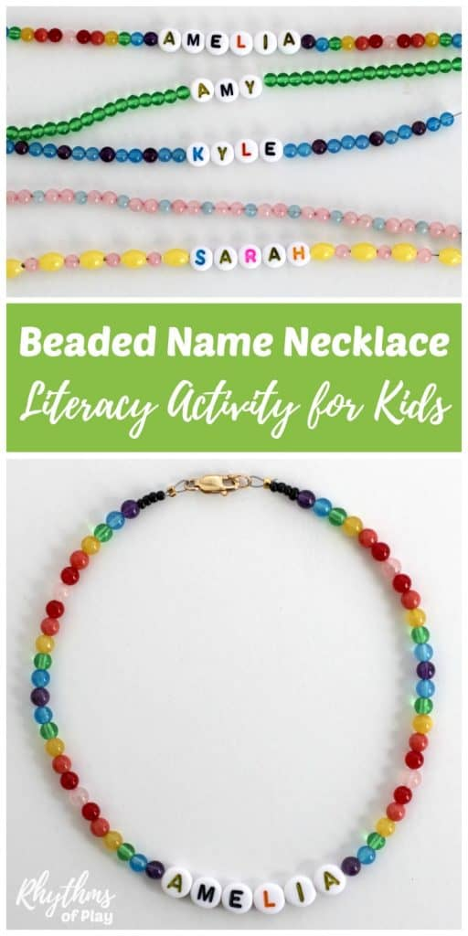DIY beaded name necklace literacy activity for kids - Have your child learn to recognize and spell their name AND excercise fine motor muscles needed to write while making beautiful jewelry they can wear! Older children and teens that know how to read can make personalized jewelry. Makes a great handmade gift idea for friends and family.