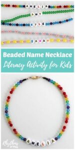 Beaded Name Necklace Literacy Activity for Kids