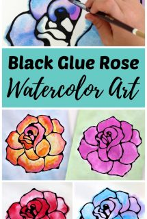 Black Glue Rose Watercolor Resist Art Project