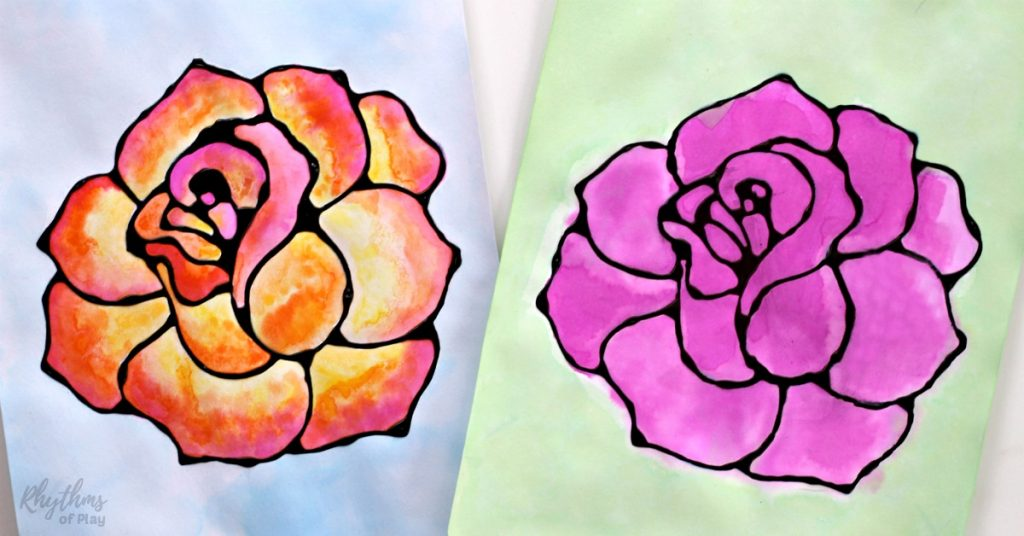 Black glue rose watercolor resist art project. A fun and easy spring and summer flower painting idea for kids, teens, and adults. The tutorial includes how to make black glue and basic beginning watercolor techniques to use for inspiration.Makes a simple and beautiful Mother's day gift idea!