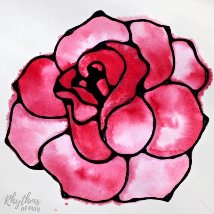 Black glue rose watercolor resist art project