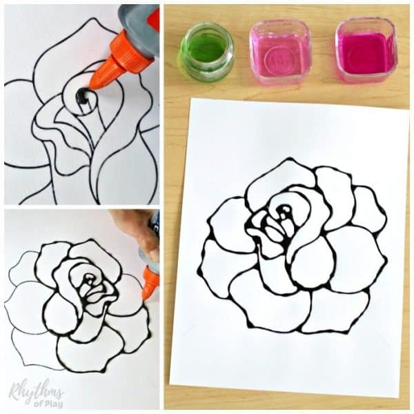 Black Glue Rose Watercolor Resist Art Project sq1