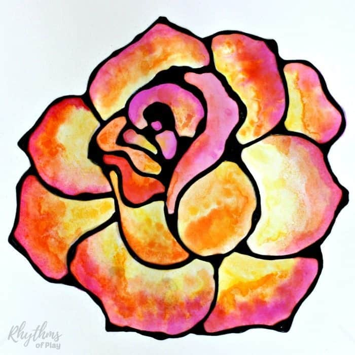 Black glue rose watercolor resist art