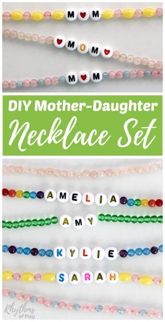 DIY Mother-Daughter necklaces make a beautiful homemade mother-daughter jewelry gift set perfect for Mother's day! Learn how to easily make a beaded necklace for each child in the family, and one for grandma or nana too! Click through for the easy to follow tutorials, simple directions, and beginning jewelry making tips and ideas for kids, teens, and adults.