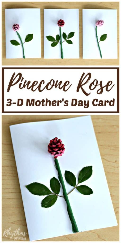 Diy Pinecone Rose 3 D Mother 39 S Day Card Kids Make