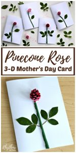 DIY Pinecone Rose 3-D Mother's Day Card Kids Make