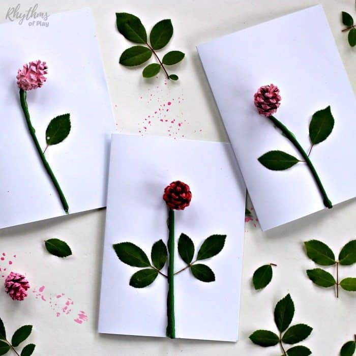 DIY pinecone rose 3-D Mother's day card - handmade gift idea kids can make for mom