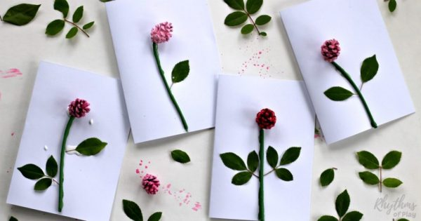 DIY pinecone rose 3-D Mother's day card kids can make. Moms, grandmas, and nanas love receiving homemade cards from the children they love on Mother's Day! An easy handmade craft project perfect for little hands.