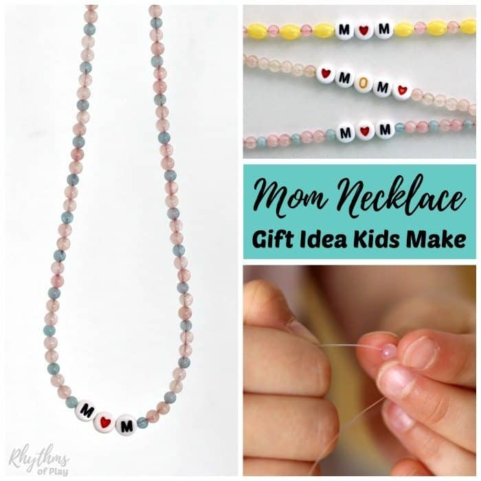 A DIY mom, grandma or nana necklace makes a perfect homemade Mother's Day gift idea that kids can make! Mom's love receiving homemade personalized keepsake gifts from their daughters and sons, while grandmas love gifts from their grandkids. Click through to learn how to make one for your mom, grandma, or nana today!