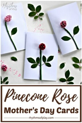 Pinecone Roses DIY Mother's Day Cards