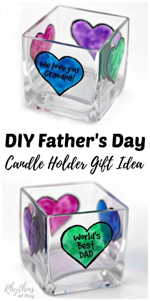 DIY Father's Day Gift Idea - Dads and grandpas love homemade personalized keepsake gifts for Father's Day! Creating gorgeous stained glass hearts on square votive candle holders and personalizing them for daddy or papa is fun and easy for both kids and adults. Anyone that can draw or trace can make this easy handmade craft project.