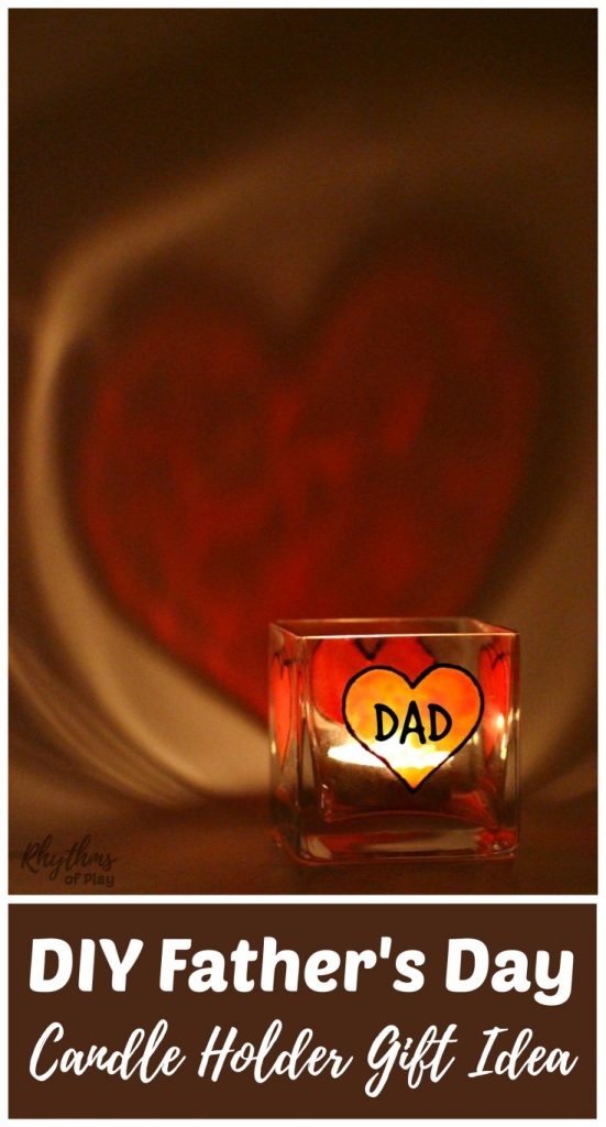 DIY Father's Day Gift Idea - Dads and grandpas love homemade personalized keepsake gifts for Father's Day!Creating gorgeous stained glass hearts on square votive candle holders and personalizing them for daddy or papa is fun and easy for both kids and adults. Anyone that can draw or trace can make this easy handmade craft project.