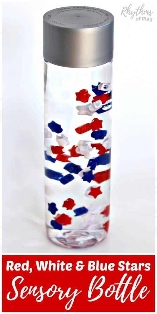 DIY Red White and Blue Stars Sensory Bottle