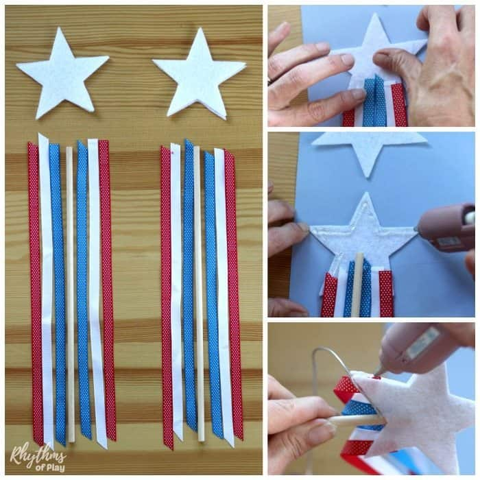 DIY Patriotic Red White and Blue Ribbon Star Wands are an easy no-sew felt toy perfect for memorial day or the 4th of July! Patriotic wands like these are a safe alternative to sparklers for kids to wave around at parties and parades. They also make great party favors and decorations for any red, white and blue themed event.