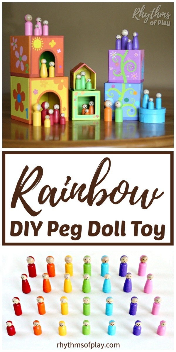 Rainbow Peg Doll DIY Toys for Kids