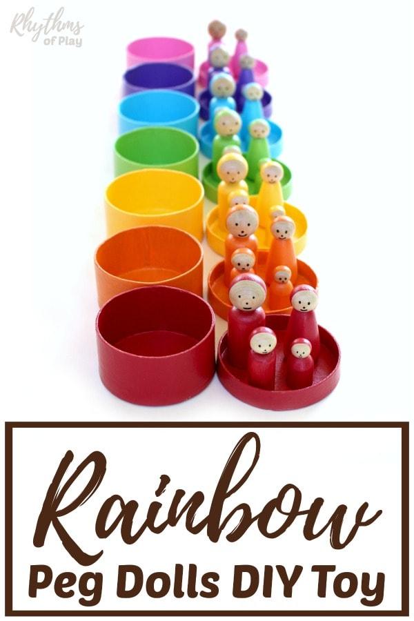 Rainbow peg dolls homemade DIY toys for kids