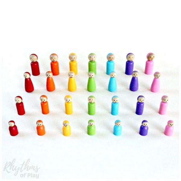 Rainbow peg dolls DIY toys for kids