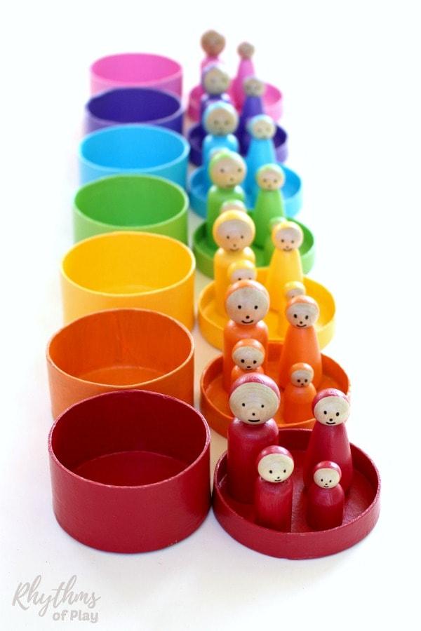 DIY Rainbow Peg Dolls Handmade Toy for Kids