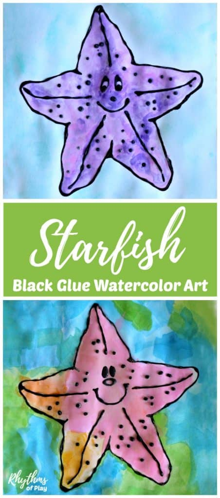 Outlining a starfish with black glue and painting it with watercolors is a fun and easy art project.  A gorgeous under the sea ocean painting idea for kids, teens, and adults. Includes a FREE printable that is blank in the middle so the artist can decide how to finish it. The simple craft tutorial includes how to make black glue and basic beginning watercolor techniques.