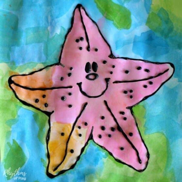 Happy starfish art for kids