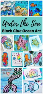 Under the Sea Black Glue Ocean Art Projects