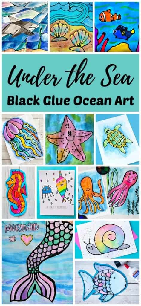 Enjoy the stress relieving activity of coloring with black glue and watercolors with this fun collection of easy under the sea ocean art and craft projects! Most come with a free printable template to make it easy to create gorgeous ocean art for a simple watercolor lesson or homeschool ocean unit. The contrast of the black glue and watercolor paints creates vibrant works of art that can be hung on the wall or given as a unique handmade gift.