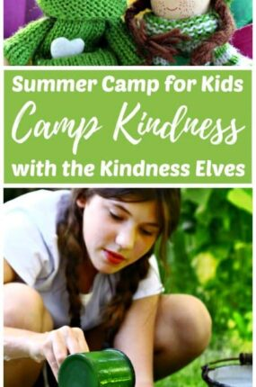 Camp Kindness summercamp for kids can be done at home or with a school or church group or camp over the summer break. The focus is on teaching empathy and kindness with the magic of the Kindness Elves.