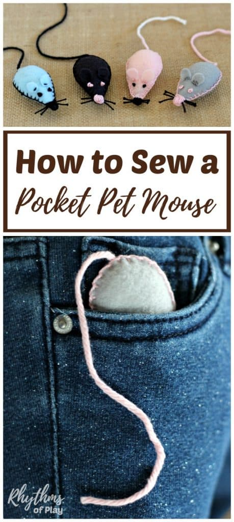 Sew a pocket pet mouse softie with the kids as a beginning sewing project! A pet mouse you can put in your pocket makes a great loveyor comfort object the kids can easily carry around with them. Send them off to day care or school for the first time, or back to school with a little bit of the safety of home right in their pocket. Handmade gift idea kids can make!