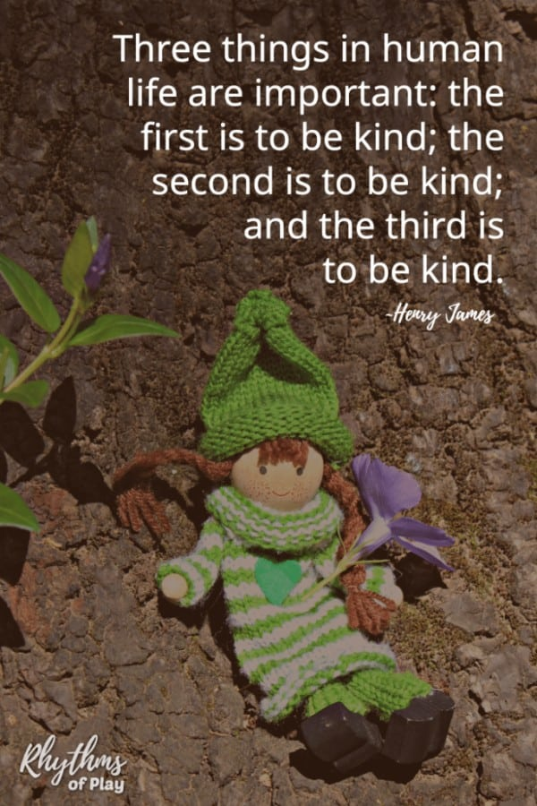 """Green kindness elf with flower on tree with quote: """"Three things in human life are important: the first is to be kind; the second is to be kind; and the third is to be kind."""" Henry James"""