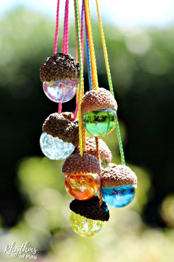 Gorgeous homemade gift idea kids can make - DIY acorn necklaces made with marbles.