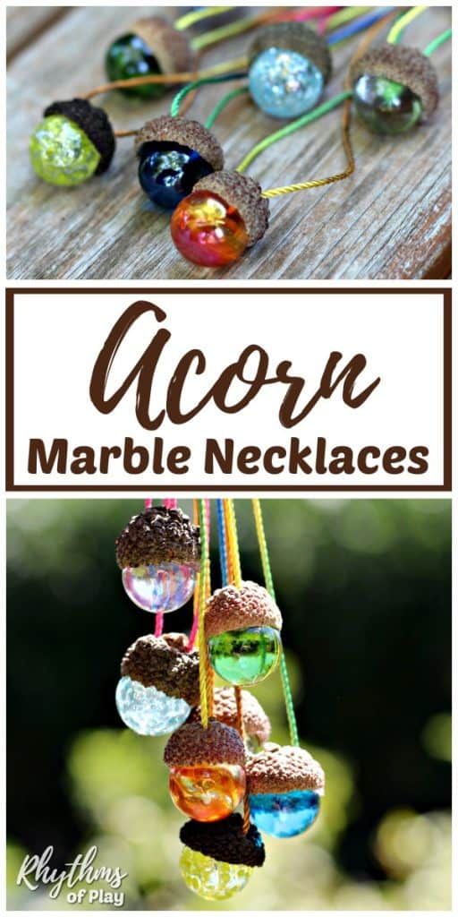 DIY acorn marble necklace craft and gift idea kids can make.