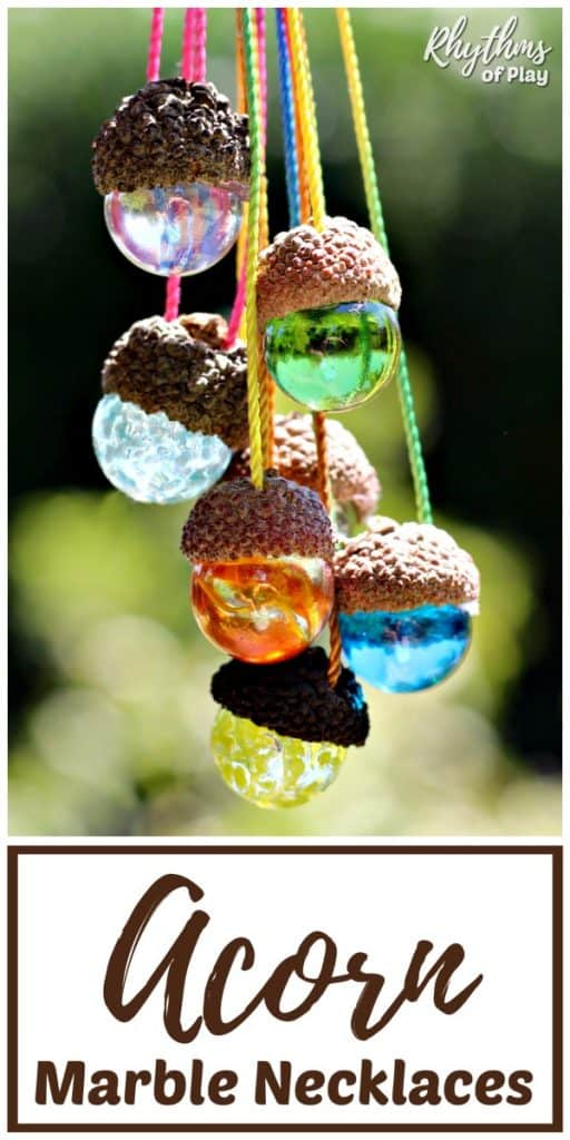 DIY acorn marble necklaces nature craft and homemade gift idea kids can make.