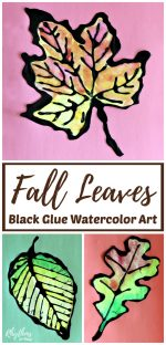 Fall Leaves Black Glue Watercolor Resist Art