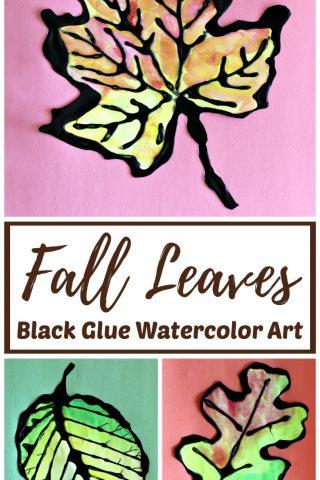 Fall Leaves Black Glue Watercolor Resist Art