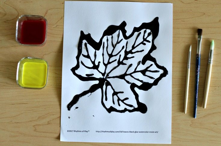 Maple leaf art - Using only primary watercolors to paint a fall leaf.
