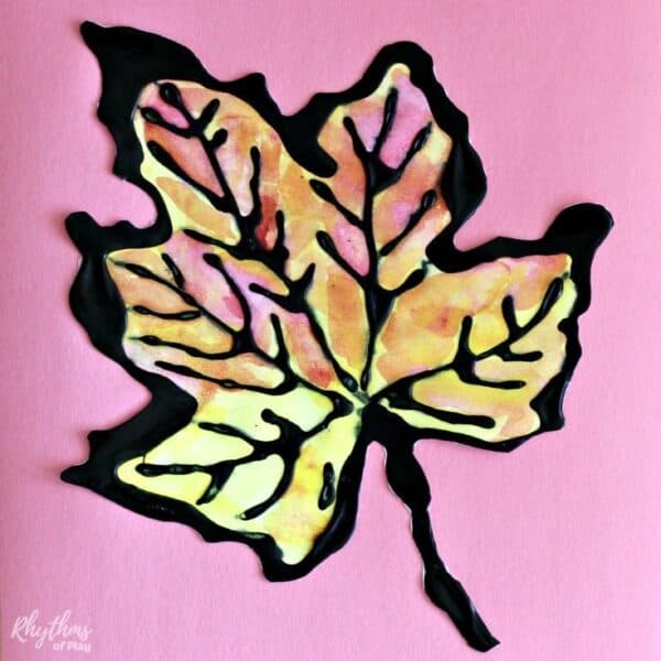 Maple fall leaf art project for kids and adults.
