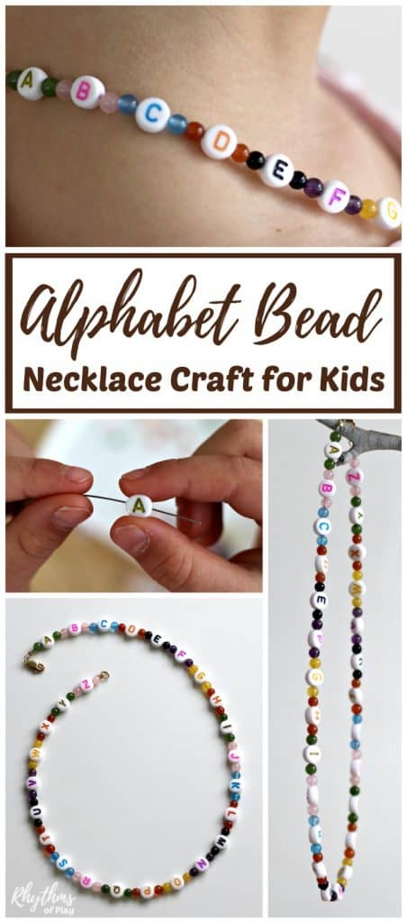 Alphabet bead necklace beginning jewelry craft for kids. A literacy and fine motoractivity for children. String ABC beads to learn the alphabet and develop the fine motor muscles in the hand to prepare for writing. Makes a unique handmade DIY jewellery gift idea kids can make! #craft #necklace #literacy
