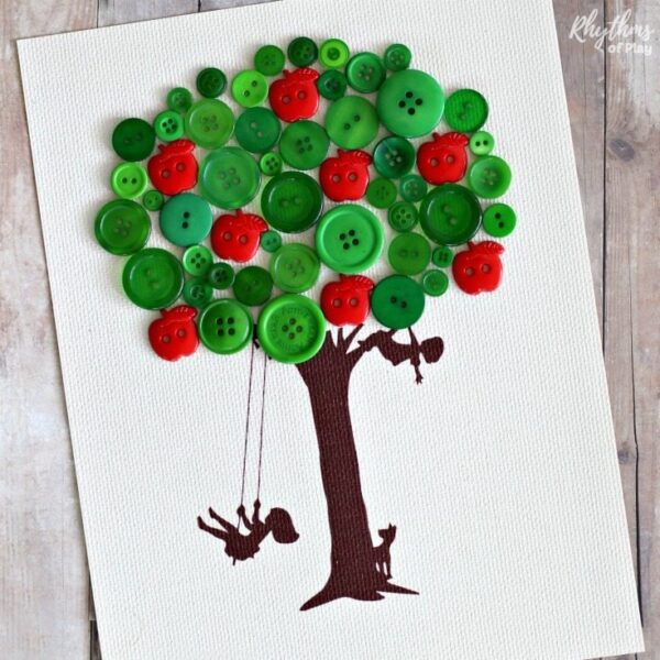 Apple tree craft for kids made with green and apple shaped buttons