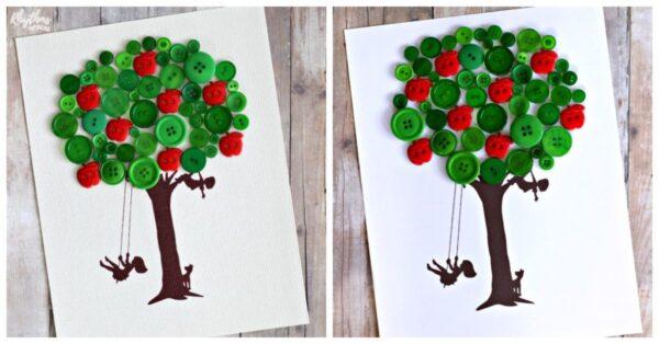 Apple tree made of buttons teacher gift idea.