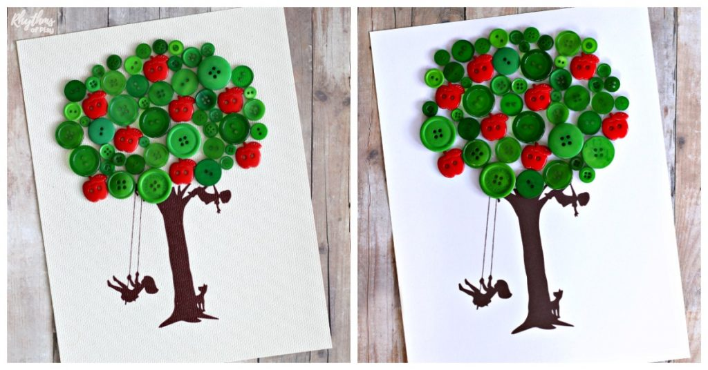 Making an apple button tree is an easy fall fine motor craft for kids. Makes a unique handmade DIY gift idea kids can make for friends, family, or your child's favorite teacher!